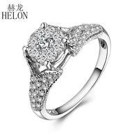 HELON Solid 18k White Gold Natural Diamonds Solitaire Halo Engagement Wedding Fine Ring Diamonds Women's Party Jewelry Ring