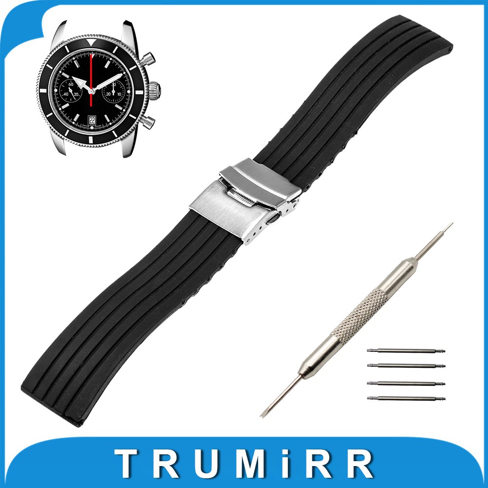 18mm 20mm 22mm 24mm Silicone Rubber Watch Band +Tool for Breitling Stainless Steel Safety Buckle Strap Wrist Belt Bracelet Black 18mm 20mm silicone rubber watch band for dw daniel wellington wrist resin strap stainless stee safety buckle bracelet tools