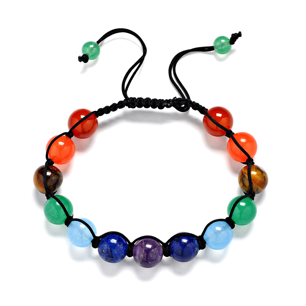 13 Pieces Of 8MM Colorful Rainbow Treatment Aura Stone Pulse Round Braid Bracelet Pray Balance Beads Charms Bracelets Gift