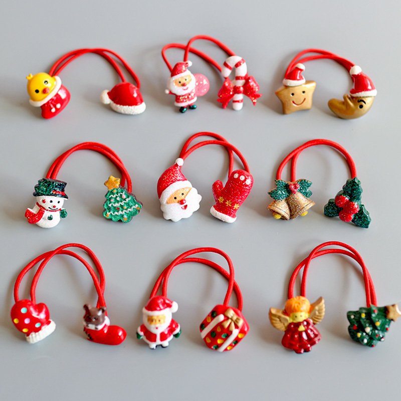 1PCS Cartoon Santa Claus Gloves Children Hair Ropes Elastic Rubber Hair Band Girls Hair Accessories Baby Headwear Kids Headdress 2015 fashion elastic hair bands for women candy color baby girl kids headbands hair ropes headwear hair accessories 20 colors