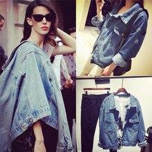 2016 Womens Fashion Blue Denim Jacket Harajuku Hole Denim Coat Retro Vintage Oversize Ladies Boyfriend Denim Jacket Oversized