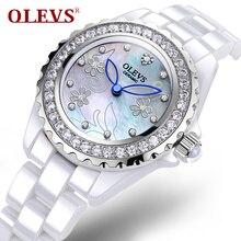 Fashion brand Women s Ceramic Watches white Luxury Quartz Rose gold Water resistant Clock Flower Relogio