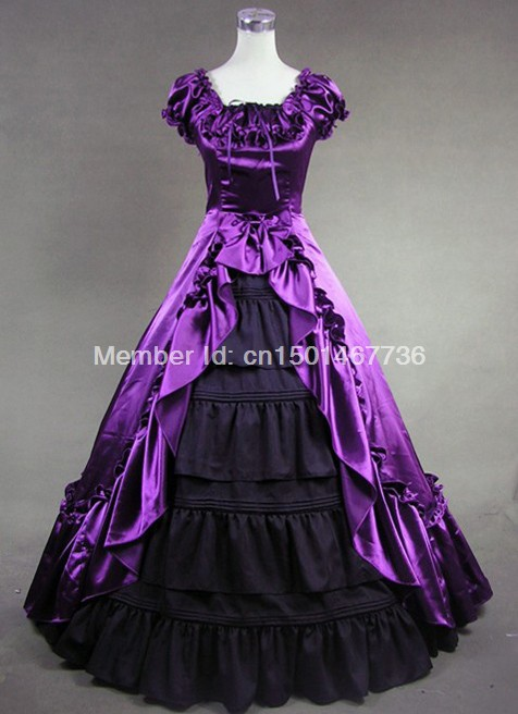 Elegant Purple and Black Gothic Vitoria Dress Medieval Renaissance Gowns Dress