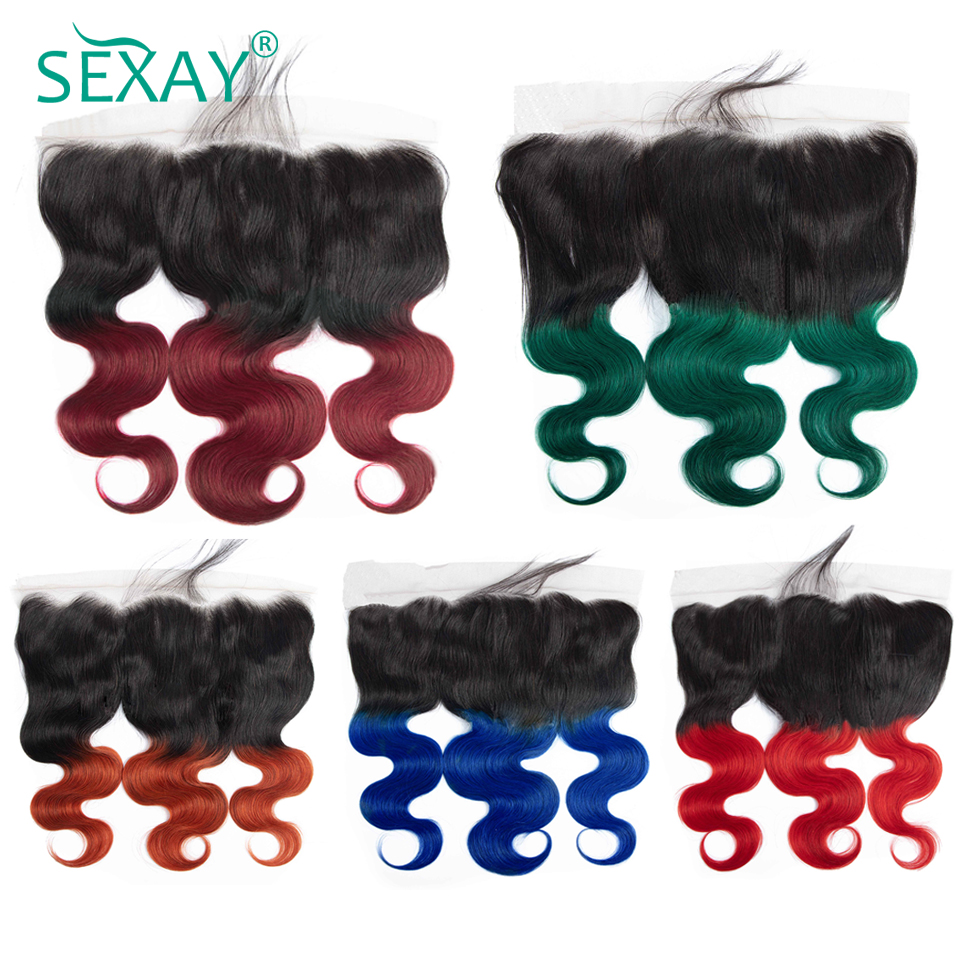 SEXAY Pre Plucked Lace Frontal Several COLORs Ombre Brazilian Body Wave Non Remy Hair 13x4 Frontal Closures With Baby Hair