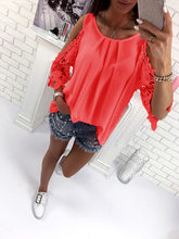 Women Blouse Shirt 2018 New Summer Beach Casual Sexy Cold Shoulder Long Sleeve Hollow Out Ladies Mujer Tops Tee Blusas(China)