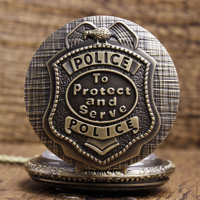 Bronze America Police To Protect and Serve Police Pattern Quartz Pocket Watches