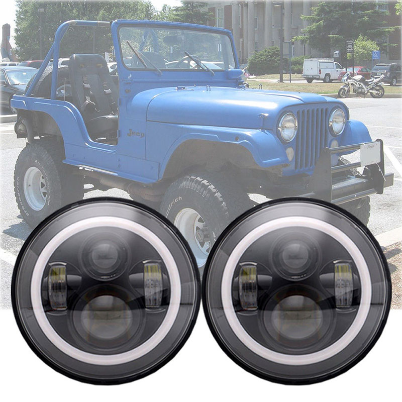 7'' INCH Round LED Headlights Sealed Beam Assembly for Jeep Wrangler JK LJ TJ CJ H4 45W White Halo Turn Signal & DRL faduies 7 inch round led headlights white halo ring angel eyes amber turning signal lights for jeep wrangler jk tj cj