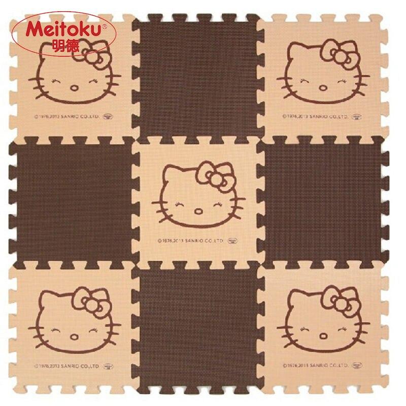 Meitoku Baby spelen Puzzel Mat, 9 stks / partij Cartoon EVA Foam Oefening vloermat, grijpende pad voor kinderen Each30X30cm Dikke 1 cm