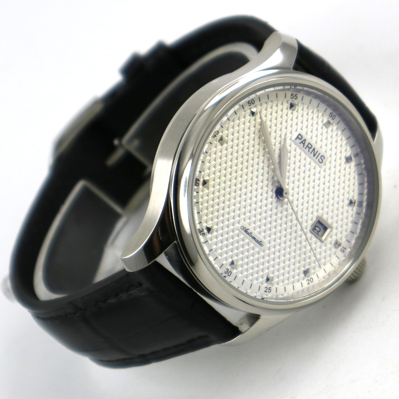 43mm parnis white dial date window leather sea-gull 2551 automatic mens watch цена и фото