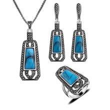 Tamaño del anillo 8-10 Plateado Plata Antigua Turco Collar de la Joyería Set 4 Colores de la Resina Y Cristal Negro Vintage Camiseta Sistemas de la joyería
