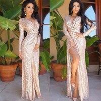 H & D Africano vestuário de moda de Nova mulher vestido rosa de ouro lantejoulas manga longa e profunda V nó vestido garfo aberto K8024