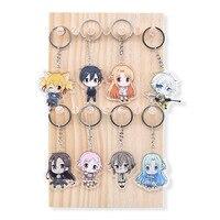 8 cái/bộ Sword Art Trực Tuyến Keychain Dễ Thương Double Sided Truyện Tranh Keyring Anime Chuỗi Phím acrylic Phụ Kiện Phim Hoạt Hình