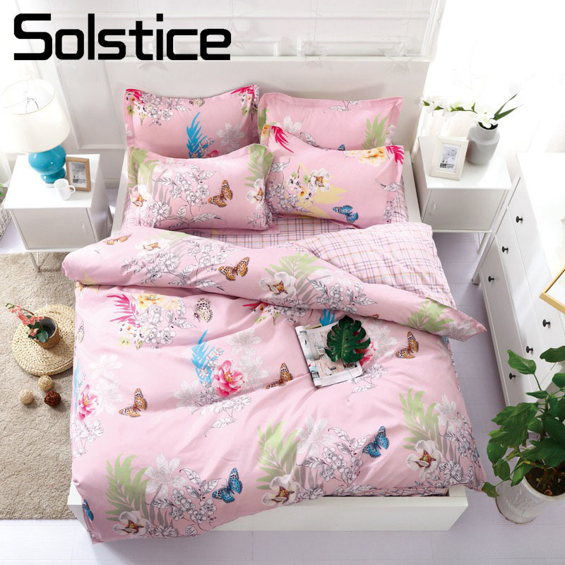 Solstice Home Textile Pink Flower Butterfly Girl Teen Kids Linen Duvet Cover Pillowcase Plaid Bed Sheet Woman Adult Bedding Sets