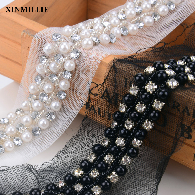 Black Pearl And Rhinestone Lace Beaded Trims Diy Wedding Dress Decoration Bridal Garment Sewing Accessories 1 Yard/5yard/lot