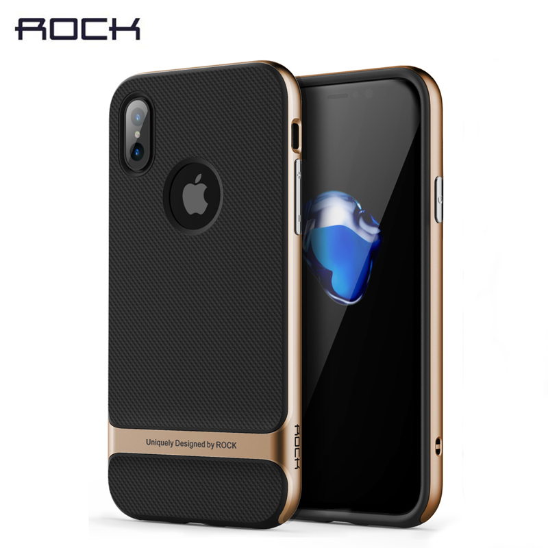 Genuine ROCK Case for iPhone X Back Case, PC + TPU Slim Hybrid Durable Armor Case for iPhone X 10 phone hoesje free shipping iPhone