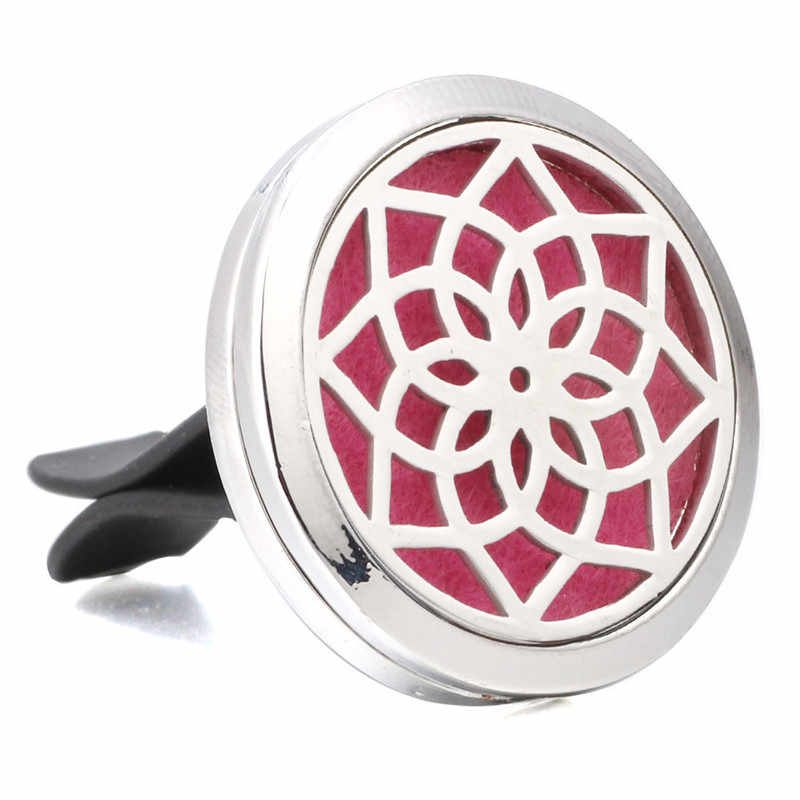 น้ำหอมเครื่องประดับ Lotus ดอกไม้สแตนเลส Vent Freshener Car Essential Oil Diffuser สร้อยคอ Locket YC012