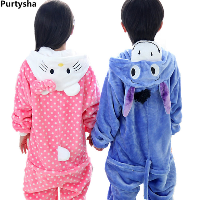 7e54417281a8 Children Kids Pajamas Autumn Winter Flannel Animal Polka Dot Cat ...