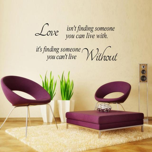 wall sticker letter printing love without quote sticker mural wall