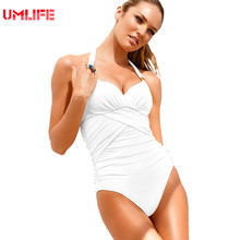 UMLIFE One Piece Swimsuit 4 Colors Ladies Tankini Swimsuits Cheap Sexy White Bathing Shuits Black One Piece Swim Suit