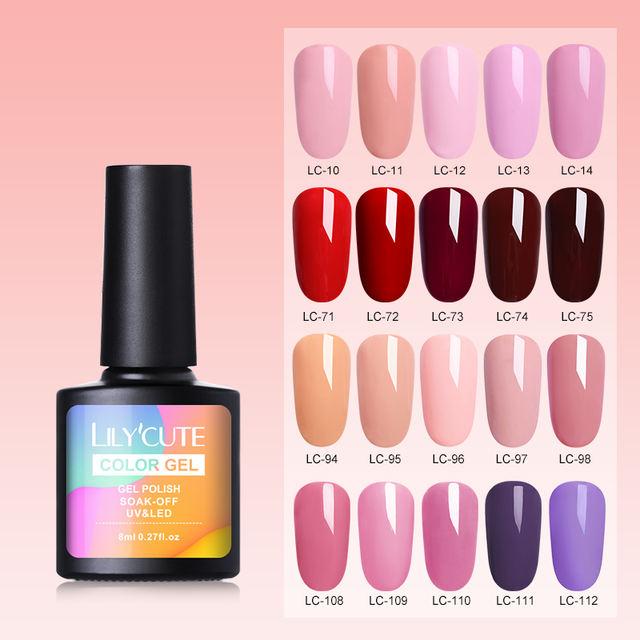 LILYCUTE 8ml Pink  Color Series UV Nail Gel