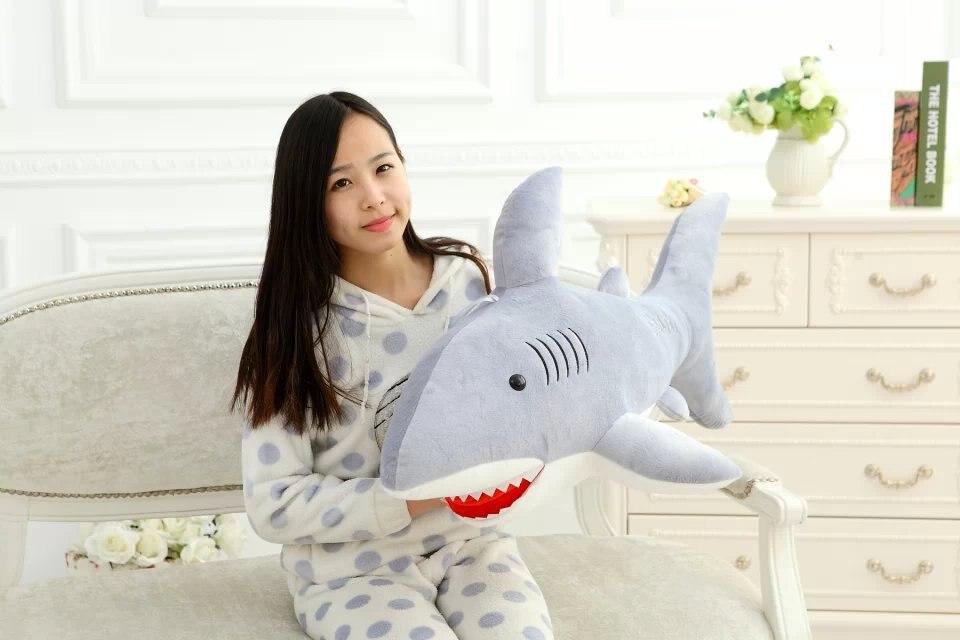 Grand belle peluche requin jouet en peluche gris requin poupée cadeau environ 100 cm 2583
