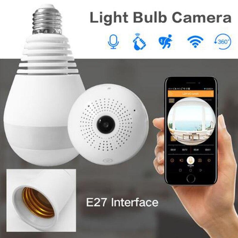 3.0 MP 360 Graus Lâmpada Lâmpada Sem Fio Da Câmera IP 1080 P Câmera de Segurança Wi-fi Câmera de visão Noturna CCTV Fisheye Panorâmica