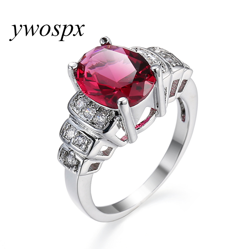 YWOSPX Nice Fashion Sweet Jewelry Red Cubic Zirconia Silver Color Rings For Women Wedding/Engagement Ring Size 6 7 8 9 10 Y20