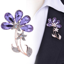 Water Drop Purple Zirconia Flower Pin Brooch Rhinestone Brooch Pins Scarf Jewelry Accessories C319