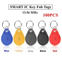 100pcs 13 56MHZ Classic1K ABS ISO IC Key Fobs Access Control Keychain RFID Smart Card Tag