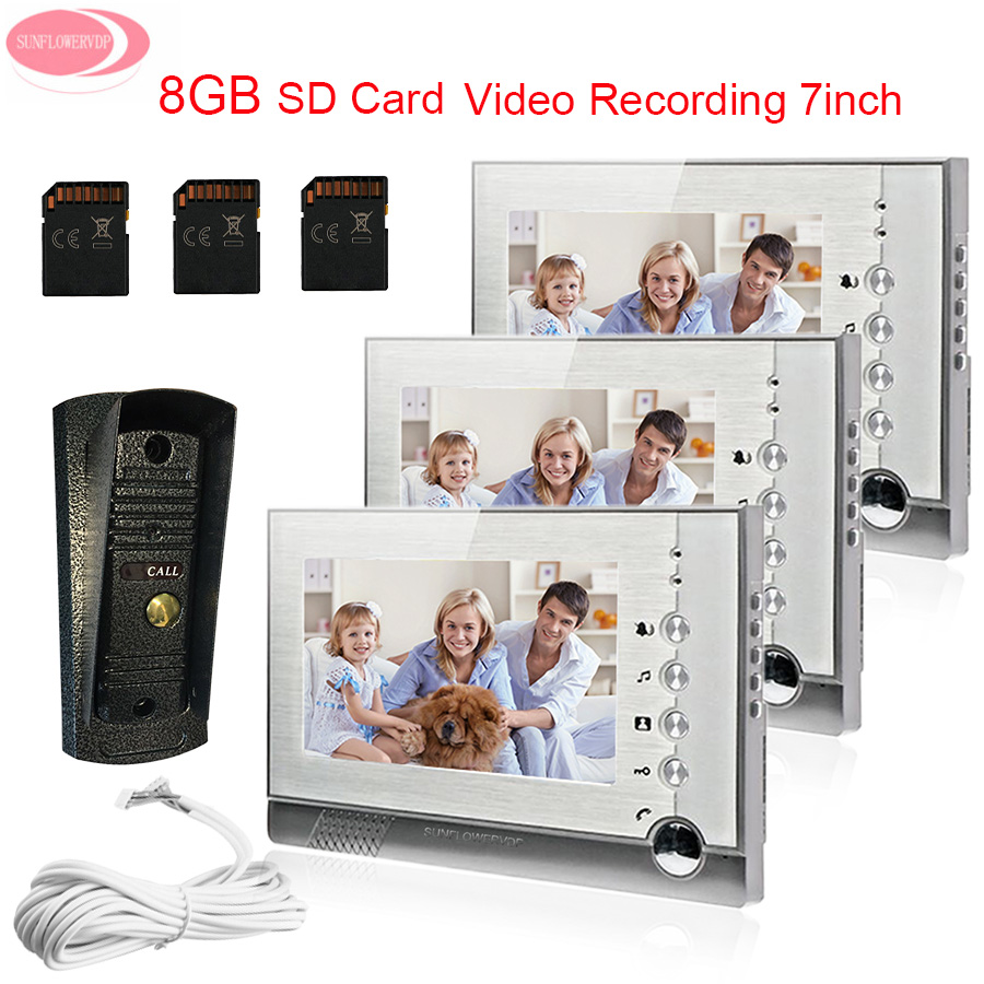 Apartment 7 Monitor Video Door Phone Video Intercom With Recording 8 GB SG Card+ Metal Waterproof Camera Video Door System Unit