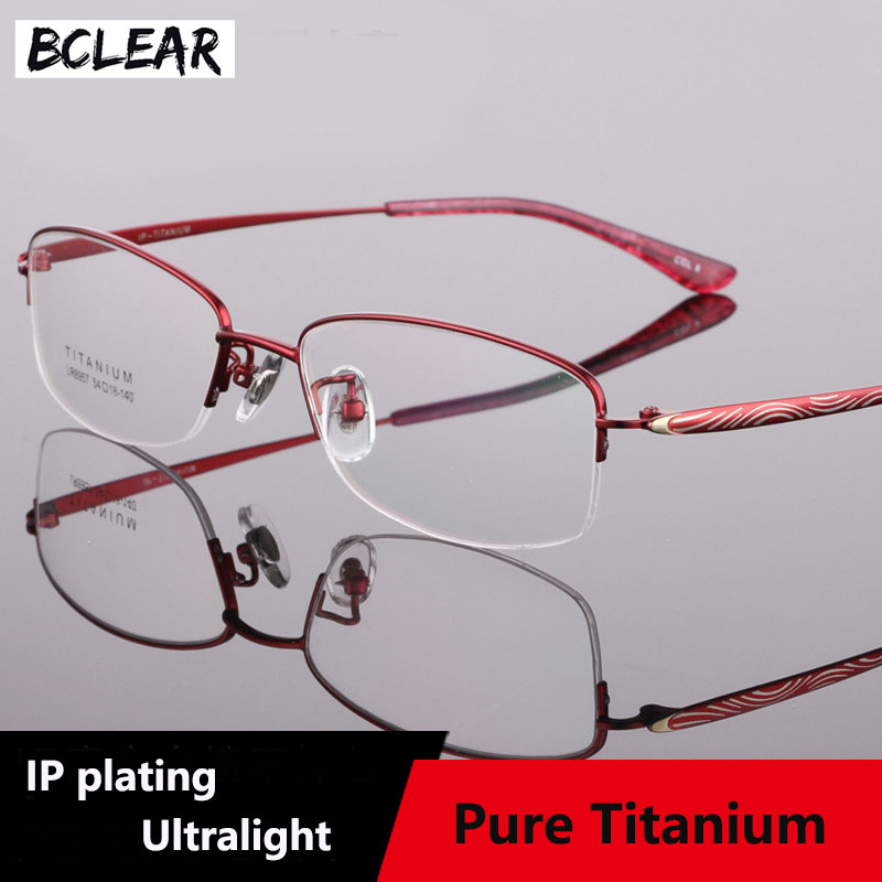 BCLEAR Fashion Titanium Semi Rimless Optical Eyeglasses Frame Women Eyewear Prescription Spectacles Urltra Light Red Purple Pink