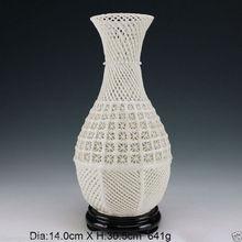 Oriental Vintage Handwork Carved openwork Dehua White Porcelain Vase & Base