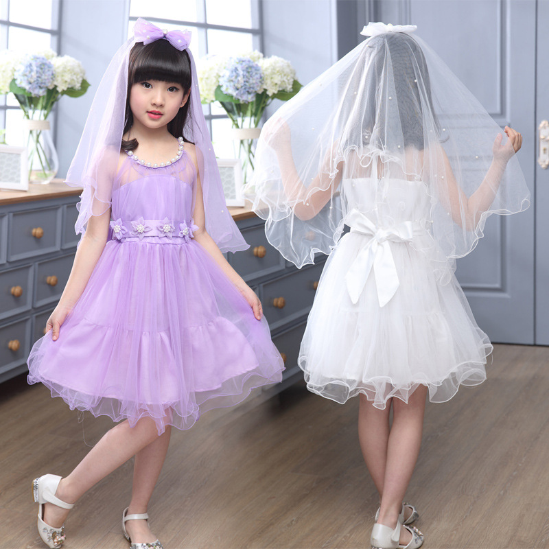 Age 3 13 Yeas Old 2017 New Elegant S Summer Wedding Bridesmaid Flower Dress Pearl With Veil Pink White Purple In Dresses From Mother Kids On