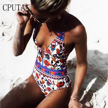 CPUTAN Women 2018 one piece floral Print Push-Up Swimwear women beach Cross Bandage Swimsuit Bathing deep V neck girl bikini XL