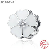 INBEAUT Pure Silver Beads For Women Bracelet Spring Flower Charm With Clear Cubic Zircon Fit Chain
