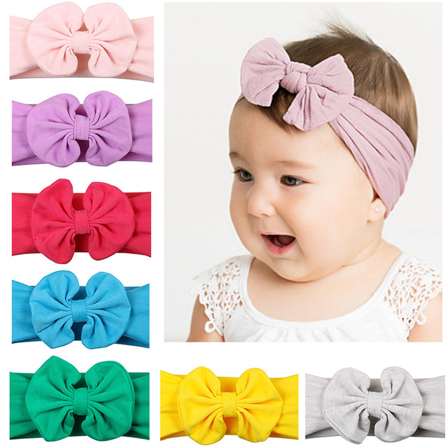 4163eb4a6 Newborn Nylon Headwraps Soft Turban Boho Baby girls Bow Headbands Kids Knot  Hairband wide bebes Handmade Solid Stretch Hairband