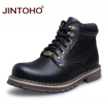 JINTOHO 2017 High Quality Men Genuine Leather Winter Shoes Work & Safety Boots Black Leather Male Boots Work & Safety Shoes