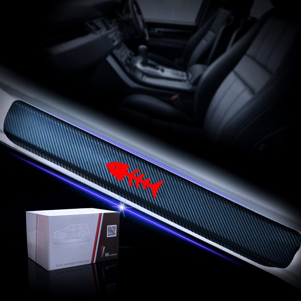 Universal Vinyl Door Sill Protectors Fit All Cars White 4pcs