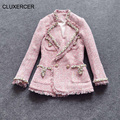 CLUXERCER Бренд Куртки женщины основные пальто грубые шерстяные алмазов длинные рукава стенд шея кисточкой твид пальто куртки женская одежда
