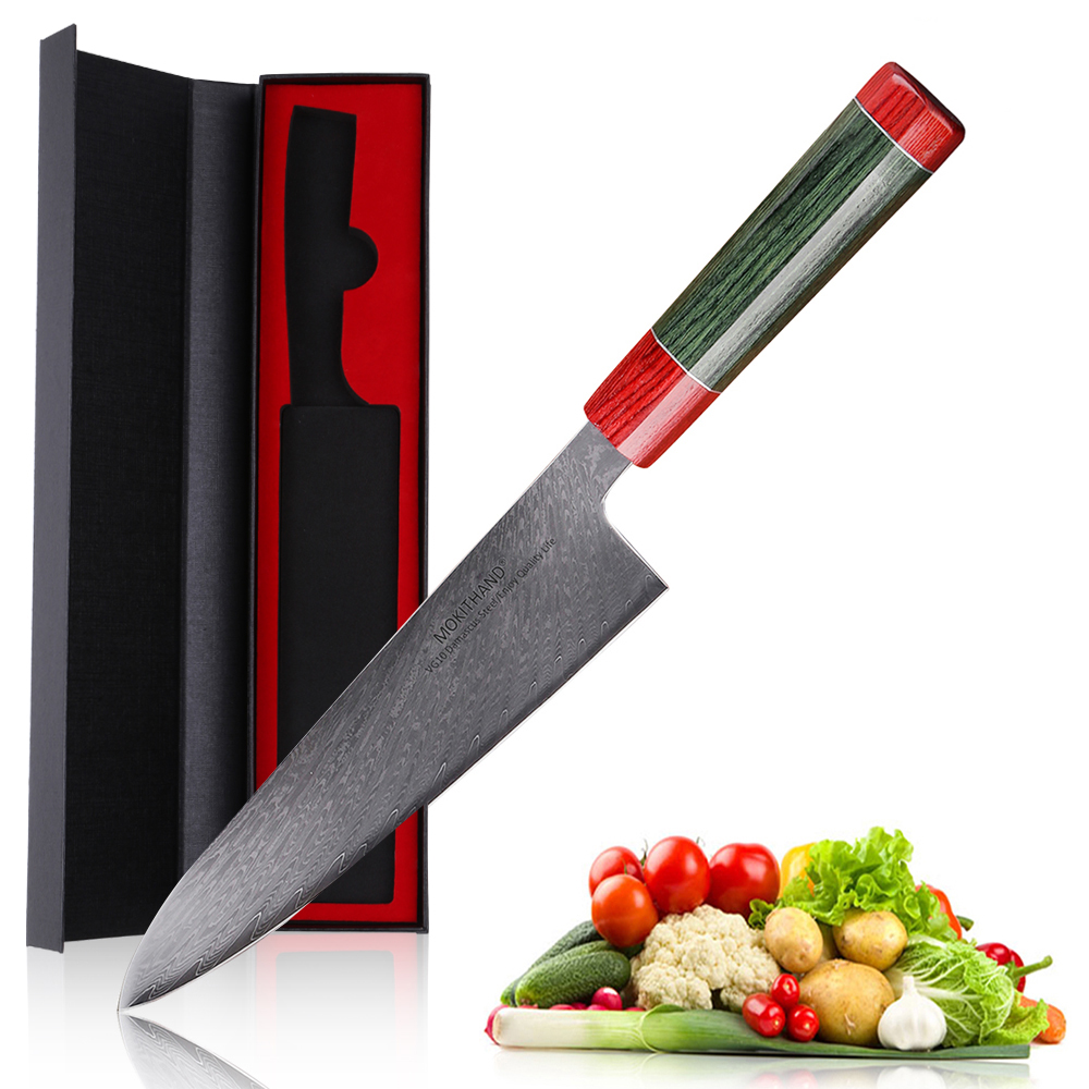 Mokithand Japanese Damascus Chef <font><b>Knives</b></font> High Carbon 8 Inch <font><b>Kitchen</b></font> <font><b>Knife</b></font> <font><b>Professional</b></font> Stainless Steel Meat Fish Filleting <font><b>Knife</b></font> image