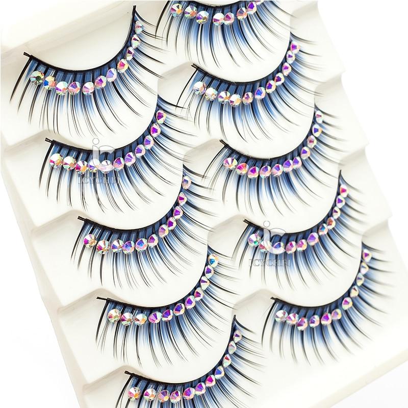 Image 4 - ICYCHEER Makeup 5 Pairs Color Glitter Diamond Eyelashes False Eye Lashes Party Cosplay Halloween Long Thick Natural Eyelash-in False Eyelashes from Beauty & Health