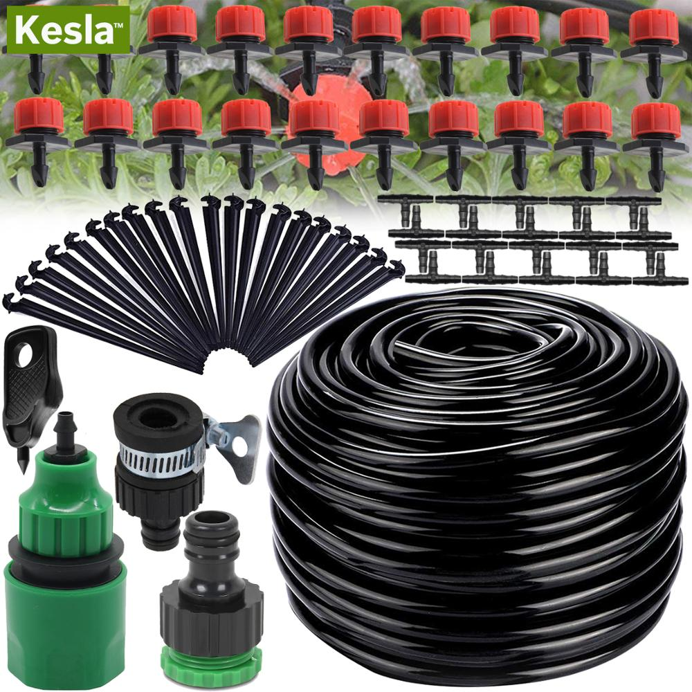 KESLA 5M-25M Automatic Micro Drip Irrigation Watering System Kit Hose Home Garden & Adjustable Drippers Greenhouses Potted Grows