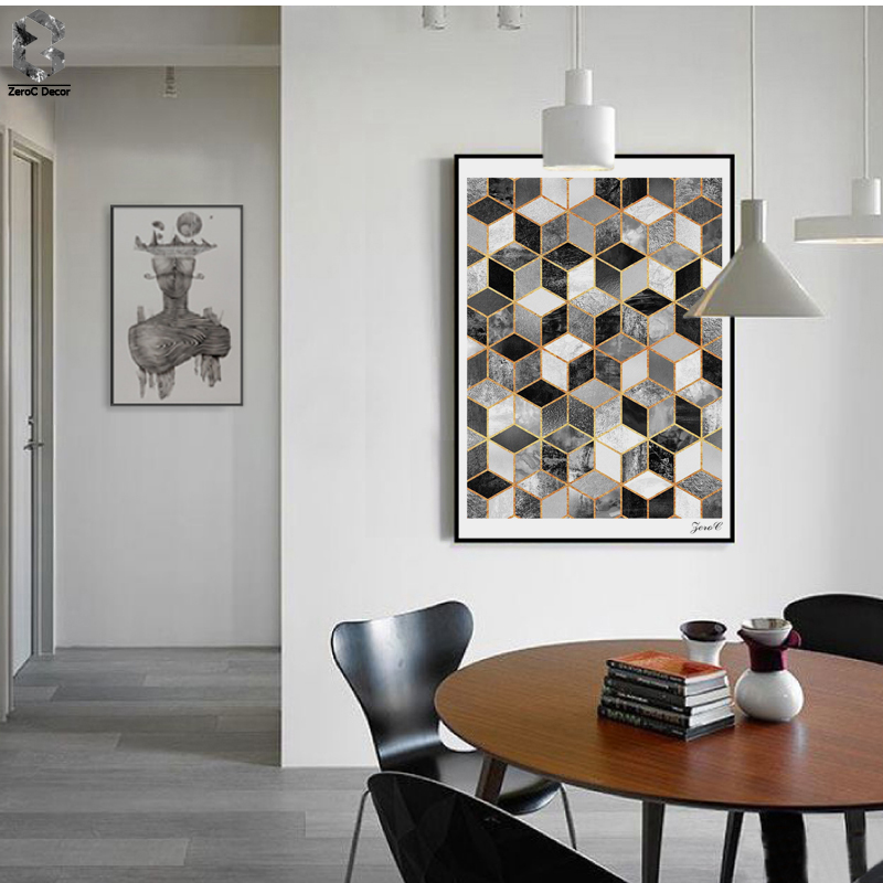 Nordic Geometric Cube Art Posters and Prints Wall Art Canvas ...