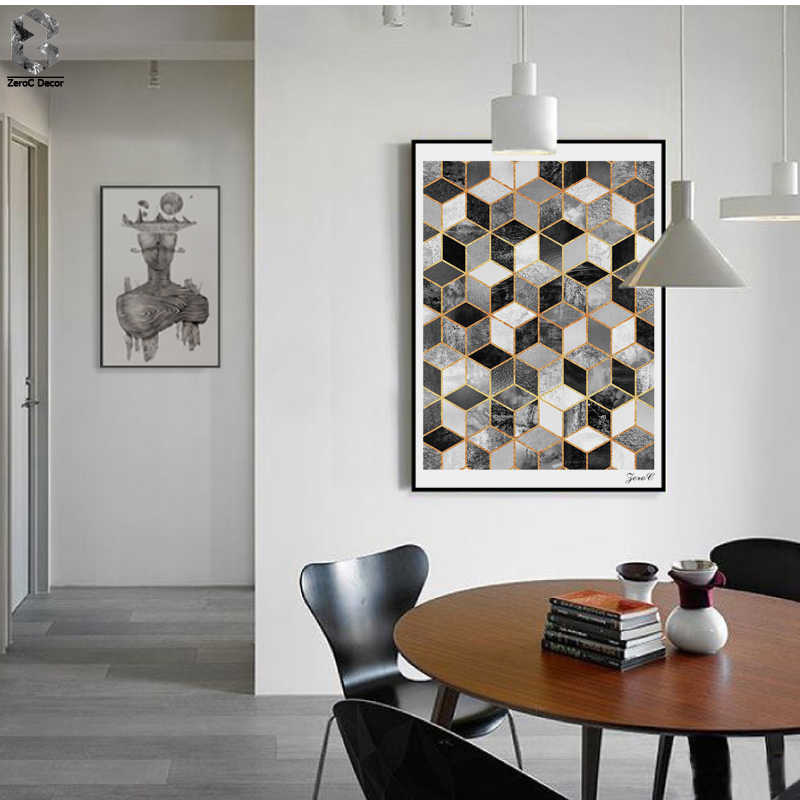 Nordic Geometric Cube Art Posters and Prints Black White Wall Art Canvas Painting Pictures For Living Room Abstract Home Decor