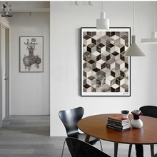 Nordic Geometric Cube Art Posters and Prints Black White Wall Canvas Painting Pictures For Living Room Abstract Home Decor