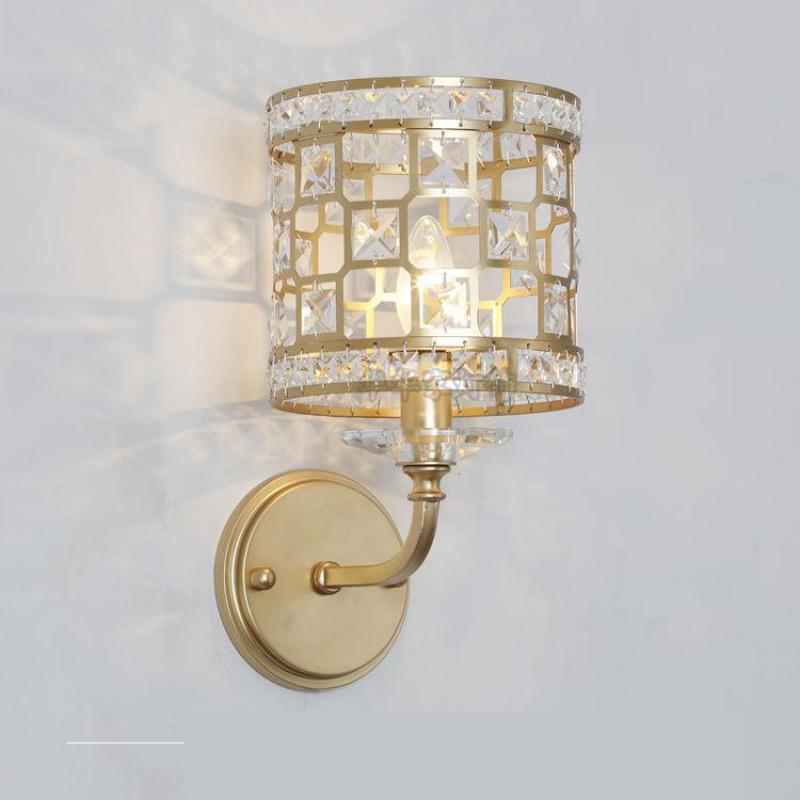 Champagne Gold Crystal Wall lighting fixtures for hallway dressing room modern Iron Wall sconce Bedroom indoor light Wandlamp
