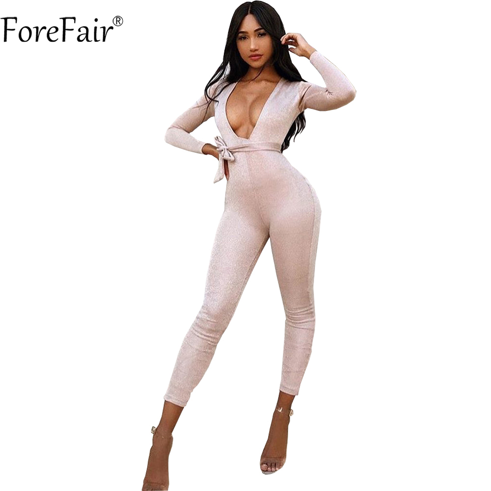ForeFair Sexy V-neck Belted Bodycon Party Club Jumpsuits Plus Size Black Gold Long Pants Skinny Rompers Women Jumpsuit