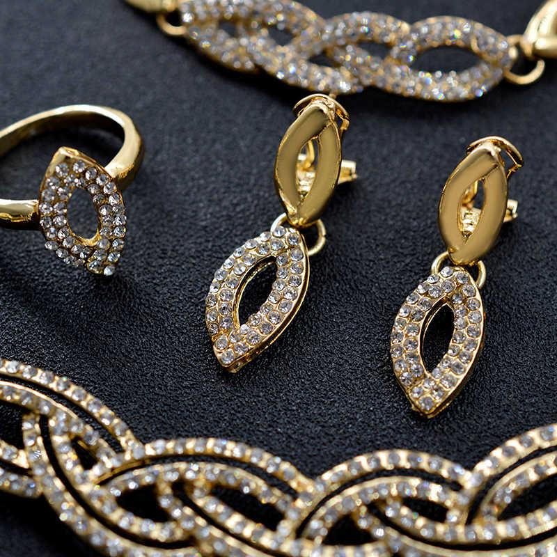 סאני תכשיטי 2019 כלה תכשיטי סטים באיכות גבוהה עבור נשים זירקון נוצת לחתונה מתנת שרשרת עגילי טבעת צמיד