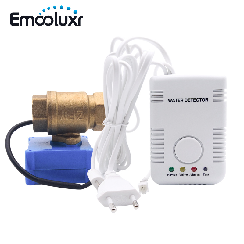 "Leak Alarm Water Detector House Security Water Leaking Sensor with Auto Close Valve 1/2"" BSP Brass Valve Smart Home"
