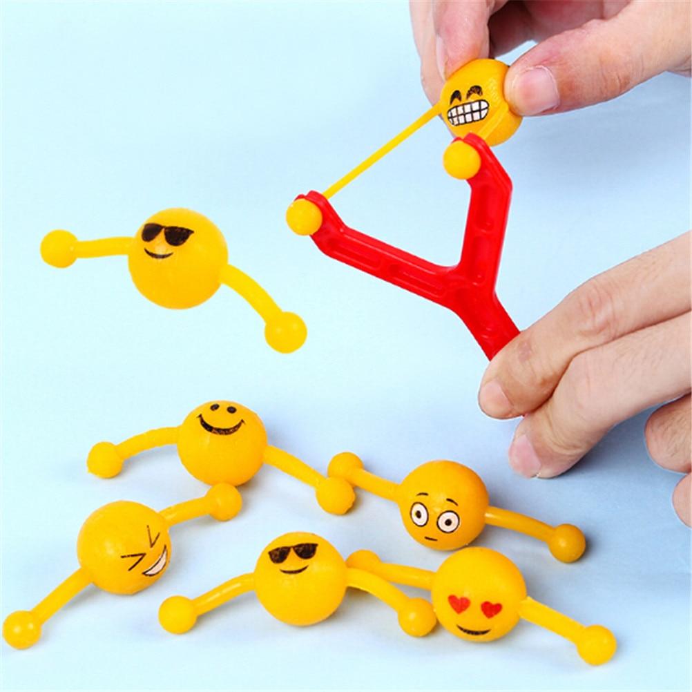1set Funny Kids Catapult Emoji Slingshot Sling Shot Anti-stress Toys For Children Outdoor Hunting Tools Adults Toys